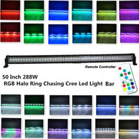 Wholesale 50Inch W Cree Led Light Bar Halo Ring RGB Chasing by Remote controller Tons Flashing Modes and Many Colors Changing