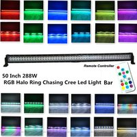 Precio de Tonelada de color-50Inch 288W Cree llevó el anillo ligero del halo de la barra RGB que perseguía por el regulador alejado Toneladas que destellaban modos y muchos colores que cambiaban