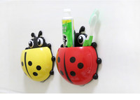 Wholesale Lovely Kids Toothbrush holder colors Ladybugs shape Plastic Power Force sucker Bathroon Holder in