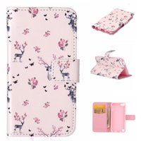 Wholesale For ipod touch5 touch6 Folio Wallet PU Leather Case Skin with TPU Soft Case Stand Designs MP3 MP4 Cases