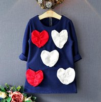 animals paragraph - Lovely long paragraph cotton princess dress year girls autumn long sleeved round neck heart decal baby T shirt Pink baby clothes E439