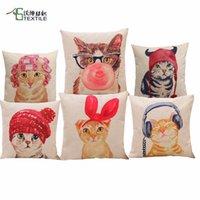 Wholesale Cat Cushion Printed Cartoon Throw Pillows Case Polyester Cotton Linen Pillowcase Catwomen Cojines Animal Capa Para Almofada