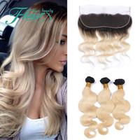 Cheap Brazilian 1B Blonde Ombre Hair With Lace Frontal Closure Brazilian 613 Color Body Wave Human Hair With Closure 13*4 Ear To Ear Frontals