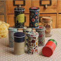 bamboo tea storage box - AIBEI Zakka style Iron box SET Vintage cosmetic Storage box with cover Flower Teas Tin Pill Bottles Jars x7 cm