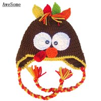 baby turkey costume - Novelty Turkey Earflap Hat Handmade Knit Crochet Baby Boy Girl Thanksgiving Costume Infant Toddler Winter Hat Newborn Photo Prop