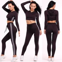 Wholesale Sport Suit Women Summer Style Striped Printed Piece Hooded Crop Top Long Pant Sets Casual Black Two Piece Jogging Suits