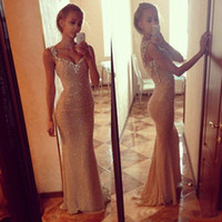 Wholesale 2016 Real Photo Bling Gold Sequins Cheap Prom Dresses Long Sheer Illusion Evening Dress Beaded Gowns