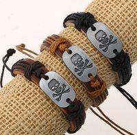 skull bracelet - leather bracelet women s bracelets metal skull head charm gifts jewelry adjustable men s wristband bangle cuff bracelets