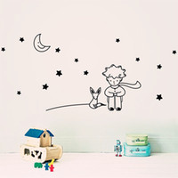 best bathroom wall colors - 1x Little Boy Moon Fox Story Wall Sticker Nursery Kids Decal Best Gift Home Decor all Colors