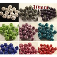 Wholesale 100pcs mm colorful Clay with Crystal Rhinestone Shambala DISCO Loose Beads for Bracelet and Necklace Jewelry beads mix Color DIY