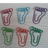 Wholesale 100pcs Middle Size Metal Foot Shaped Paper Clips Animal Shaped Paper Clips Green Blue Red Purple Color
