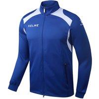 Wholesale Kelme KMC160001 Men Long Sleeve Stand Collar Leisure Running Sport Training Football Knit Jacket Blue