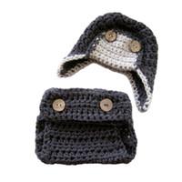aviator hat costume - Newborn Knit Aviator Costume Handmade Crochet Baby Boy Grey Aviator Hat and Diaper Cover Set Infant Toddler Photo Prop