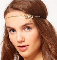 band nice - Europe America Hot Sell Classic Alloy Gold Plating Rhinestone Hair Accessories Nice Dragonfly Style Hair Band Hair Jewelry For Women Girls