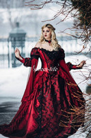 beauty drops springs - Gothic Sleeping Beauty Princess Medieval Red and Black Ball Gown Wedding Dress Long Sleeve Lace Appliques Victorian Bridal Gowns