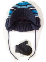 Wholesale BOY Winter Warm Knit Hat and Gloves Set Double Layer New Arrvial