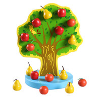 Wholesale Baby Toys Fruit Tree Montessori Education Kids Wooden Toys Early Learning Magnetic Toys Apple Tree Math Toy Birthday Gift
