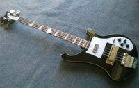 Wholesale 2016 Nova Fábrica Rickenback custom firglo cordas bass guitar preto baixo ricken dupla saída injacks mono stereo