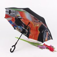 Wholesale Windproof Double Layer Manual Open C Handle Inverted Umbrella