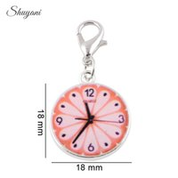 alarm clock charm - Mix Color Enamel Alarm Clock Pendant with Lobster Clasp for Bracelet Necklace DIY Metal Jewelry Making