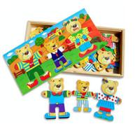 bear statue - Cartoon Three Bears Dress Changing Dressing Jigsaw Wood Puzzle Toy for Children Kids Baby Intelligence Development HT2915