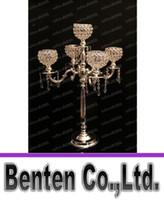 all'ingrosso candles-75 cm di altezza candelabri a 5 bracci in metallo oro con pendenti in cristallo nozze candela titolare evento fulcro LLFA11