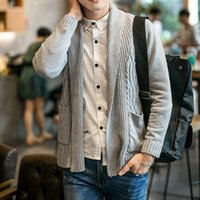 Wholesale Autumn Men s Cardigan Sweater Preppy Style knitted Turn down Collar Knitting Solid Loose Sueter with Pockets Grey Black Blue