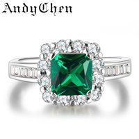 beryl crystals - AndyChen Green Crystal Beryl Jewelry Wedding Rings For Women Silver Plated Engagement Bague Bijoux Femme Accessories ASR188