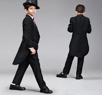 Wholesale 2016 Boys Wedding Suits Size Black Boy Suit Formal Party Six Sets Bow Tie Pants Vest Shirt Cummerbun Kids Suits In Stock