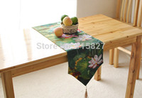Wholesale High Quality Chinese Style Table flag Cotton Table Runner Chinese Lotus Coffee Table Runner Dining Table Cover