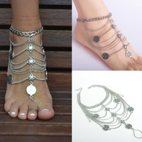 animal print bangle bracelets - Shoe Decoration Chain Women Ankle Bracelet Foot Jewelry Anklet Barefoot Sandals Foot chains Bangle for flip flops Tassel Beach