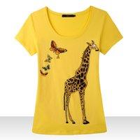 Acheter Girafe haute-[Magic] 2015 nouvelles femmes du printemps de haute qualité coton t-shirt d'été d'usure à manches courtes girafe papillon taille à la main M-XXXL 3801