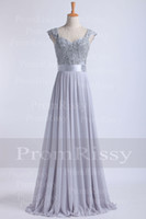 Wholesale Cheap Floor Length Beaded Sequin Lace Top Sweetheart Cap Sleeve Chiffon Silver Grey Long Prom Dress Bridesmaid Dress PR8