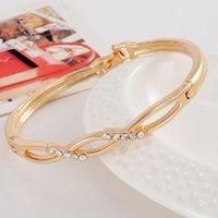 austrian crystal cuff bracelet - Hot Sales Fancy Elegant Women Lady s Clear Austrian Crystal k Rose Gold Plated Bracelets Bangles Jewelry Gifts