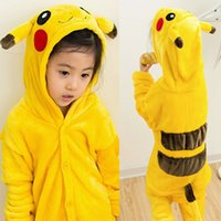 Wholesale Free DHL Comfy Kigurumi Costumes Kids Cuddly Children Onesie Pajamas Cosplay Pikachu Flannel Leisure Sleepwear Xmas Gift K114E