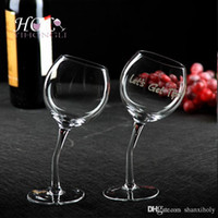 Wholesale hand made Slim stem slanted wine glass long stem
