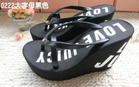 Wholesale New Women s Ultra high heels beach slippers summer wedges platform sandals flip flops women s casual Slippers shoes wedge walking shoes