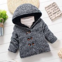 Wholesale High Quality Baby Boys Clothes Woolen Jackets with Hood Thick Warm Double Breasted Long Sleeve Overcoat Gray Boys Winter Jackets Coats Long