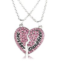 best pairs - New arrival A pair of Mom and daughter mosaic Heart shaped crystal pendant necklace Best Gift for Mom