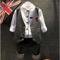 banded collar suits - Brand new Spring and Autumn paragraph boy gentleman suit children Korean version of the band in corsage vest sets