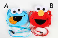 Wholesale 2 Color Sesame Street Plush Stuffed Animals Coin Purse Card package Hang rope cartoon For Children s bag Best Gifts x13cm