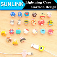 Wholesale Cute Cartoon Kitty Stitch Captain America Lightning Line Set Data Cable Savior for iPhone S s Plus Charging Cable Protector Case Saver