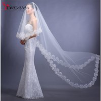 Wholesale 2016 Bridal Veil White ivory Long Veils For Weddings Long Lace Embellished Spain Cathedral Wedding Accessories