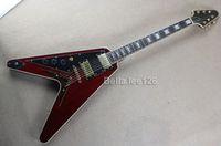 Wholesale OEM Left handed dark red G flying V electric guitar string through body guitar