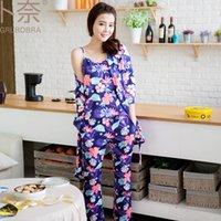 beautiful nightdress - 2017 Girlfriend pyjamas femme beautiful Floral Organic Cotton fabric harness women nightdress set of pijamas mujer manga larga robe nightgow