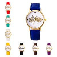 bicycle wrist watch - 10 colors strap watch Geneva personality bicycle gold dial watches simple fashion women Quartz wrist watches GTPH28