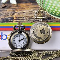 Wholesale 2016 top quality men women new Poker Pattern Vine Style Bronze Steampunk Quartz Necklace Pendant Chain Clock Pocket Watches