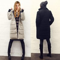 ladies quilted winter coat - 2016 Winter Womens Down Coat Parka Black Apricot Boyfriend Quilted Puff Jacket Ladies Long Sleeve Single Breasted Casual Overcoat