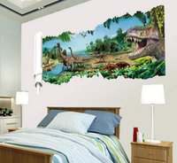 Wholesale 3d dinosaur Wall Stickers Decals for kids rooms Art for Baby Nursery Room christmas gift Decoration Kids Cartoon Poster