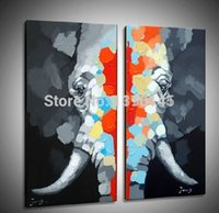 ba combinations - BA Oil Painting Best Sales Handmade Abstract Elephant on Canvas Animal Oil Wall Art Handpainted set